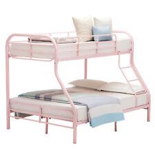 Metal Twin Over Full Bunk Bed Ladder Kid Teen Dorm Loft Bedroom Furniture Pink