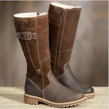 Ladies Fur Lined Buckle Strap Side Zip Cuban Heels Knee High Boots Riding Shoes