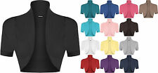 New Womens Plain Short Sleeve Ladies Crop Shrug Bolero Open Cardigan Top 8-14