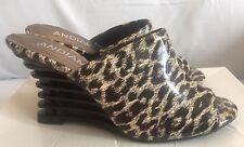 NIB Women's Andiamo Mira Pewter Leopard Pattern Wedge Slides Heels Size 7.5 M