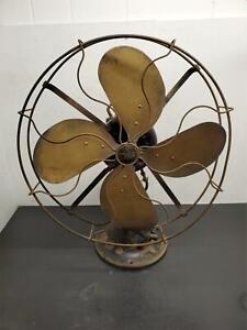 "VTG 1920'S EMERSON 29648 16"" BRASS BLADES FAN DESK ANTIQUE ELECTRIC MULT SPEED"