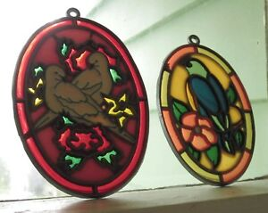 LOVEBIRDS and BIRD SUNCATCHER Lot of 3 VINTAGE SUNCATCHERS WINDOW ORNAMENTS