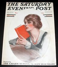 1919 OLD SATURDAY EVENING POST MAGAZINE COVER (ONLY) LOLA MAYER LADY READING ART