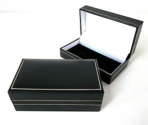 Black Leatherette CUFFLINKS Jewellery Gift Box-Velvet Pad-Gold Trim-PC84