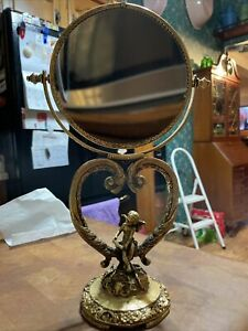 Vintage STYLEBUILT VANITY TABLE TOP Swivel Magnetized MIRROR Gold Tone