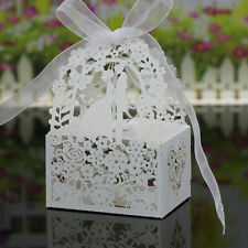 50x Love Heart Laser Cut Candy Gift Boxes Ribbon Wedding Party Favor White