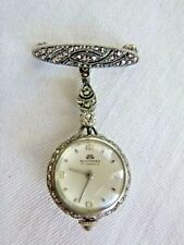 Vintage Bucherer Lucerne Swiss 17 Jewel Lapel Watch Pin 800 Silver Signed CB