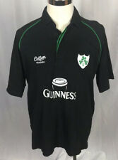 Guinness Beer Rugby Jersey Polo Shirt Ss Cotton Traders Black Green Mens size L