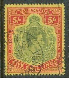 BERMUDA 1938 5/- FINE USED SG118b CAT GB£40.00 NICE! BIN PRICE GB£10.00