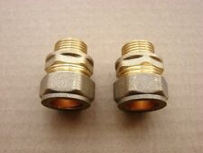 "Brass 15mm to 3/8"" Convertors (Pair) for connecting Euro taps"