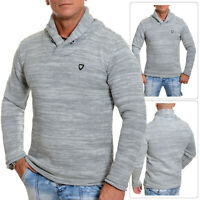 Carisma Mens funnel neck sweater grey jumper cotton warm thick knit Slim Fit