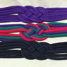 Lot of 3 Vintage Rope Belts Blue Purple & Pink Woven Stretch Cloth Elastic1980s