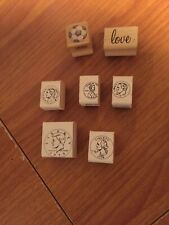 Wood mounted rubber stamps lot (7) Pre-Owned-*coins-LoVe-soc cer Ball*