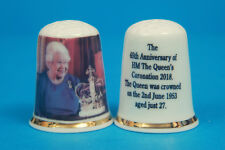 H.M The Queen's 65th Anniversary of The Coronation 1953-2018 China Thimble B/169