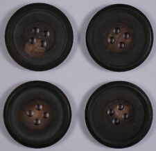 4 25.5mm genuine vintage round real horn buttons | 4 four hole | dark