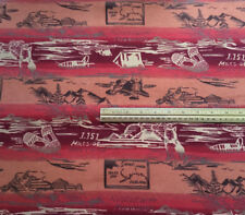 2 7/8 yards Alaska Flannel Fabric Dogs Map Snowshoes Sled Mountains Red White