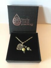"NIB Beady Celtic Jewellery Connemara Marble Beaded Heart Knot Drop Necklace 16"""