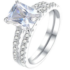 White Cz 925 Sterling Silver Size 9 Wedding Engagement Ring Set For Women 1.8ct
