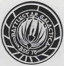 Battlestar Galactica Iron - On or Sew on  Patch 7.5cm wide Black and White NEW