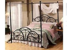 Handmade Classic Iron Scroll Canopy / Poster Iron Bed Ends Frame Queen BLACK