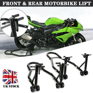 Front and Rear Motorcycle Motorbike Wheel Paddock Stand Set Pair Stands