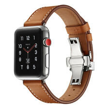 Watchband For iWatch Genuine Leather Smart Watch Butterfly Clasp Strap Belt