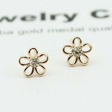 Shiny 14K/14ct Rose Gold PL Cute Small 5 Leaf Flower Crystal Stud Earrings Gift