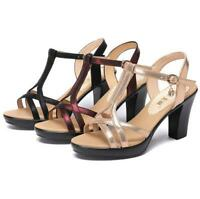 Summer Womens Ankle Strap Sandals Flatform Platform  Gladiator Block Heels Shoes