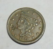 1855 HALF CENT DAMAGE ON FRONT