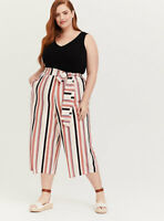 Torrid Black Multi Stripe Textured Culotte Jumpsuit Lined Women's 3 (3X) *read