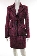 Escada Pink Wool Tweed Long Sleeve Blazer Skirt Suit Size European 34