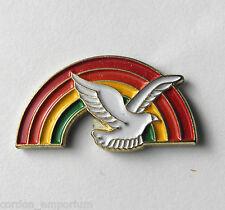 BIRD DOVE & RAINBOW LAPEL PIN BADGE 3/4 INCH
