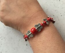 NEW DIY fashion gift of love red Tibetan silver bracelet beaded butterfly
