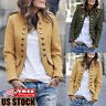 Womens Casual Slim Button Down Coat Jacket Long Sleeve Cardigan Outwear Overcoat