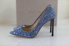 NIB Auth Jimmy Choo ROMY Cobalt Blue Glitter 100 Heels Pump Shoes sz 37.5 7.5