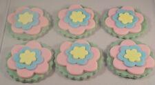 Fondant Flower Cupcake Toppers set of six Mum Nan Girls Birthday Anniversary