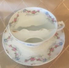 RARE CH Field Haviland Limoges GDA France Mustache Cup and Saucer Pink Blue Gold