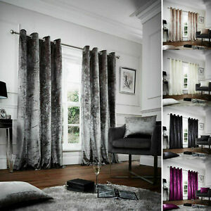Luxurious Velvet Curtains Ready Made Eyelet Ring Top Lined Thermal Curtains