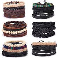 4pcs/set Men Punk Leather Bead Bracelet Ethnic Weave Bangle Jewelry Gift Party