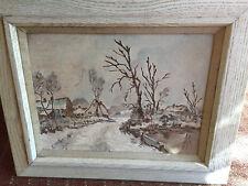 Original Oil Painting Vintage Winter Scene Houses Lake Trees Framed Grantham '62