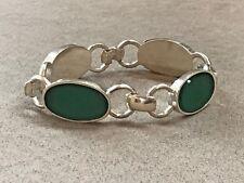 "Sterling Silver 925 VINTAGE Chysoprase GREEN bracelet 7"""