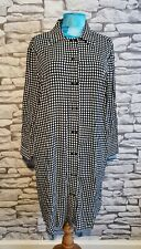 Mango Suit shirt dress Black White check semi sheer Lightweight double Button L