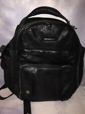 Man Backpack PIQUADRO black leather laptop rucksack preowned
