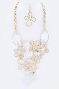 Metal Matte Gold & Silver Acrylic Bead Large Flower Statement Necklace Set D6