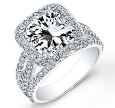 3.30 Ct. Halo Radiant Cut French & Micro Pave Diamond Engagement Ring EGL I,VS2