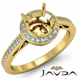 Diamond Engagement Filigree Ring Round Semi Mount Halo Pave 18k Yellow Gold 0.5C
