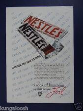 1938 NESTLE'S 5 CENT CANDY BARS ALCOA ALUMINUM FOIL SALES PROMO ART AD