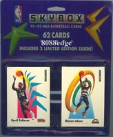 1991 91-92 SKYBOX SERIES 1 NBA FACTORY SEALED BLISTER PACK: 62 CARDS WITH LOGO