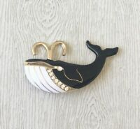 Whale pin brooch in enamel on gold tone metal with crystals