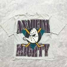 VINTAGE MIGHTY DUCKS DISNEY NHL MADE IN CANADA 1993 T-SHIRT SIZE L GRAY